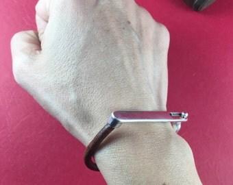 9/6 MADE in EUROPE zamak half bracelet, zamak bar clasp, silver stick clasp, 4mm round cord clasp (11088-0377) Qty1