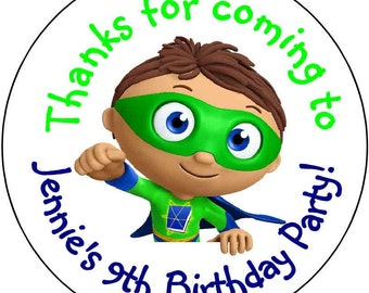 24 printed SuperWhy Super why  Birthday Party Stickers 1.67 inch Round Personalized kids printed