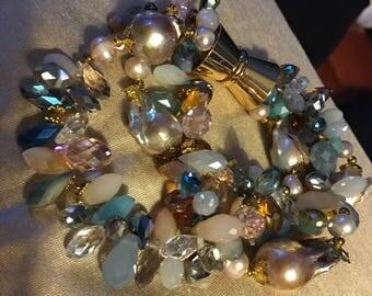 Aquamarine keshi pearls swarovski crystals many shapes and colors
