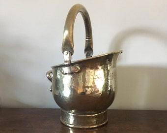 Vintage Brass Coal Scuttle, Hammered Brass, Victorian