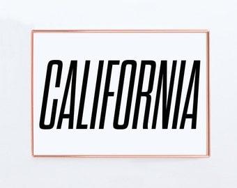 California , Graphic art, USA, Black White Art Typography Poster, california wall art, california Poster, california Print, california Art,