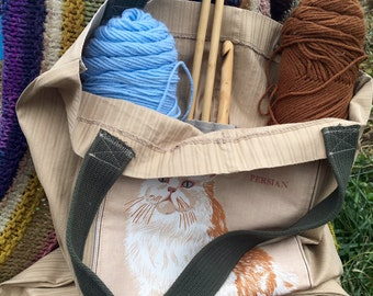Cat Lovers Project Bag or Tote for art, yarn, crafts - Persian and Calico Cat Bag