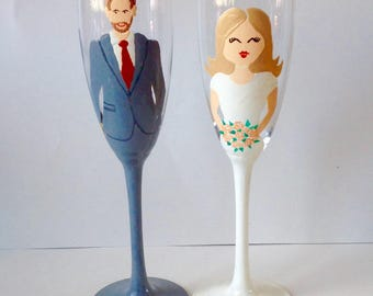 Set of 2 Bride & Groom Glasses/ Hand Painted Glasses / Wedding Gift / Champagne Flute / Wine Glass / Unique / Personalized / Wedding Glasses