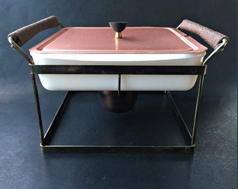 Mid Century Modern Glasbake Casserole with Stand.  Covered Chafing Dish with Warming Cradle.