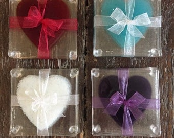 Fused glass heart coasters - set of four