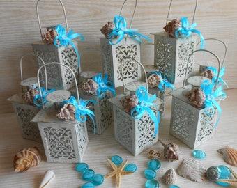 Set of 10 Sea Shells Mini Lanterns, Beach Wedding Decor, Wedding Candle Holders, Wedding Centerpiece ,Moroccan Mini Lanterns ,Rustic Lantern