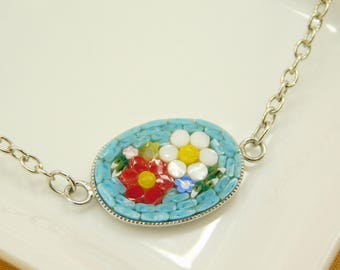 Micro mosaic bracelet - red and white flower