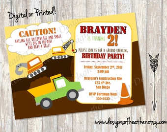 Construction Site Digital Birthday Invitation