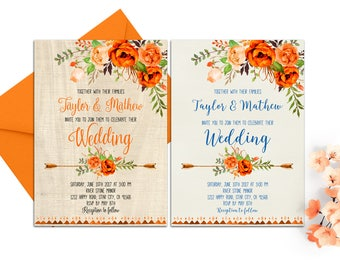 Orange Blue Wedding Invitation Printable Floral Wedding Invitation Set Boho Wedding Invitation Rustic Wedding Fall Wedding Invitations