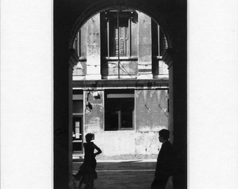 """Venice,Italy,street photography-002 (2009). Matted silver gelatin print. Print 5x7"""".Mat 8x10"""".Dated,signed"""
