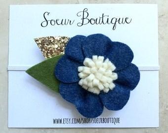 Felt Flower - Felt Flower Headband - Navy Blue Felt Flower - Flower Headband - Baby Headband - Toddler Headband - Hair Accessories