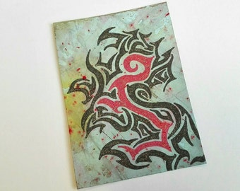Original ACEO Abstract Tribal Art Card Miniature drawing acrylic ink ATC grey red black Glitter Lion Inspired - Roar