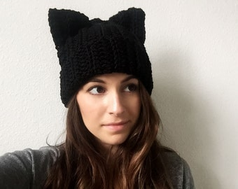 Knit Crochet Black Cat Hat with Ears