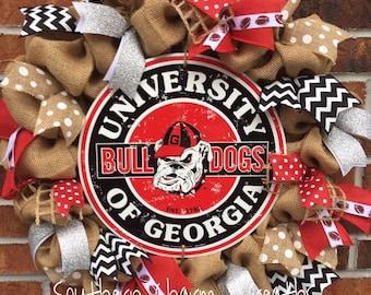 Burlap University of Georgia Bulldogs Football Wreath