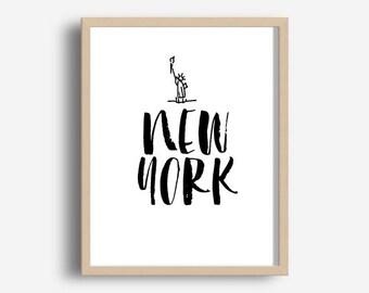 New York City, Printable Art, Typography Quote, Home Decor, New York Print, Scandinavian Design, New York Art, Wall Art