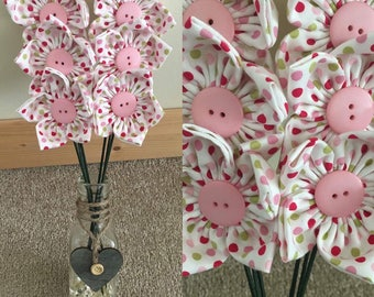 Beautiful pink, green & white spotty vase fabric flowers
