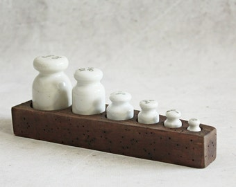 Vintage porcelain weights, set of six weights, white weights on wooden base, rustic kitchen