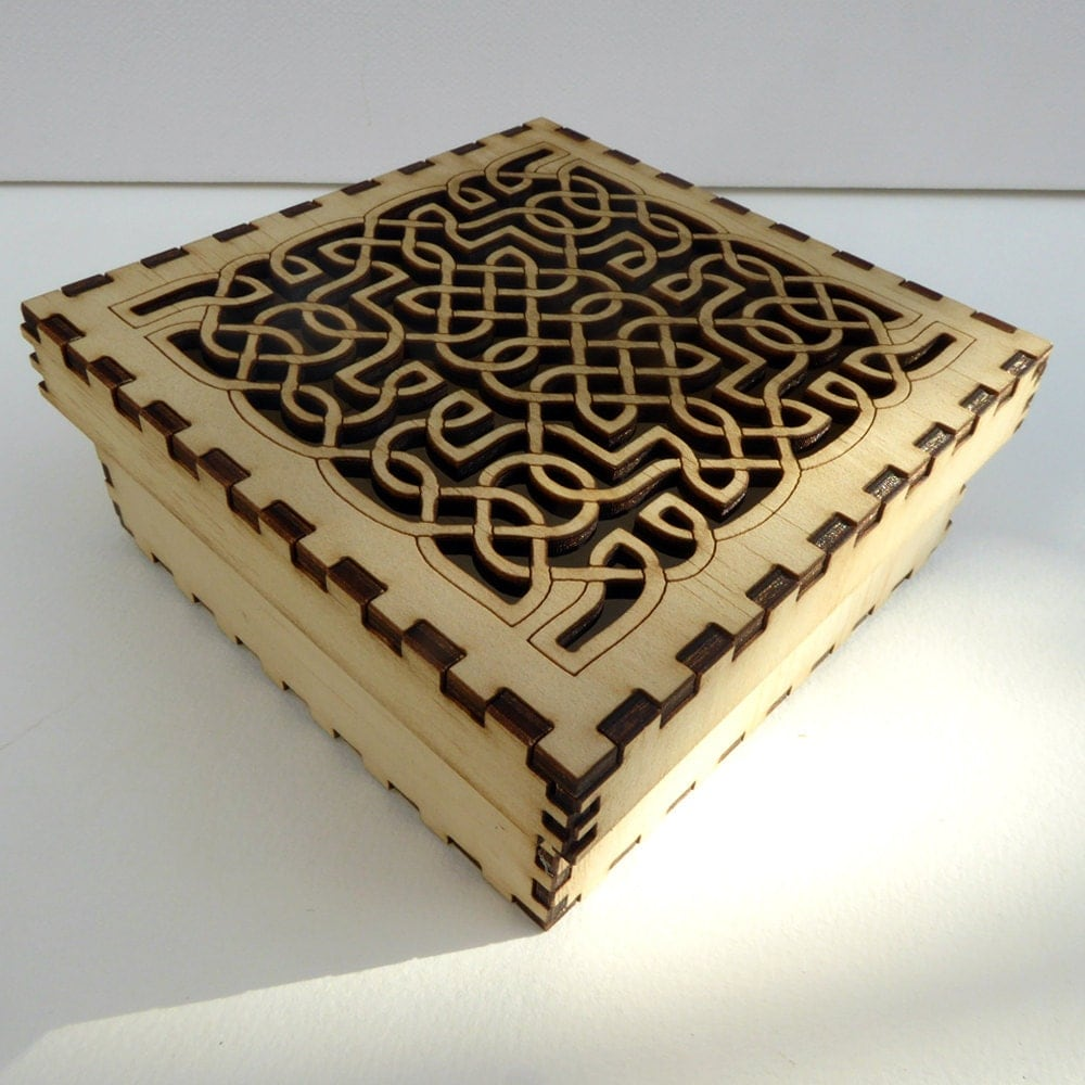 laser cut wood box template - celtic knot design plywood laser cut box self assembly craft