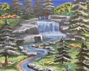 Original Acrylic on Wood Waterfall in Evening
