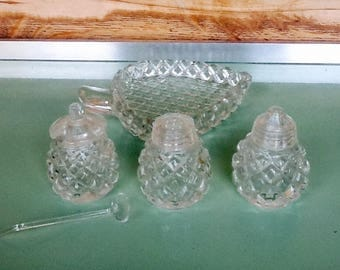 Vintage salt and pepper set, glass, with tray