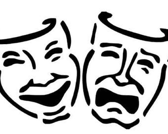 Drama Theater Masks Vinyl Decal Acting Stickers Personalized Comedy Tragedy Laugh now Cry Later Stage