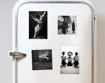 Set of 4 fridge magnets! Four black and white retro style refrigerator magnets  Vintage fashion photography magnet 15x10cm and 10x10cm