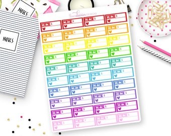 40 Rainbow Bill Due Stickers for Erin Condren Life Planner, Plum Paper or Mambi Happy Planners