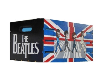 THE BEATLES Abbey Road vinyl Lp crate storage Hand Made in Lancaster, Pa, hand designed and paited by Bill Schuler Art