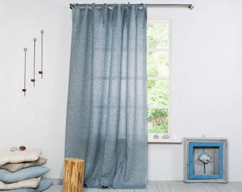 Linen Curtain-Curtain-Linen Curtain grey blue with ties-Linen drapes-Linen Panels-Window Treatments-Custom length x 59''(150cm)