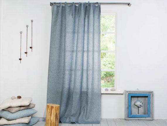 leinen vorhang gardine leinen vorhang grau blau mit. Black Bedroom Furniture Sets. Home Design Ideas
