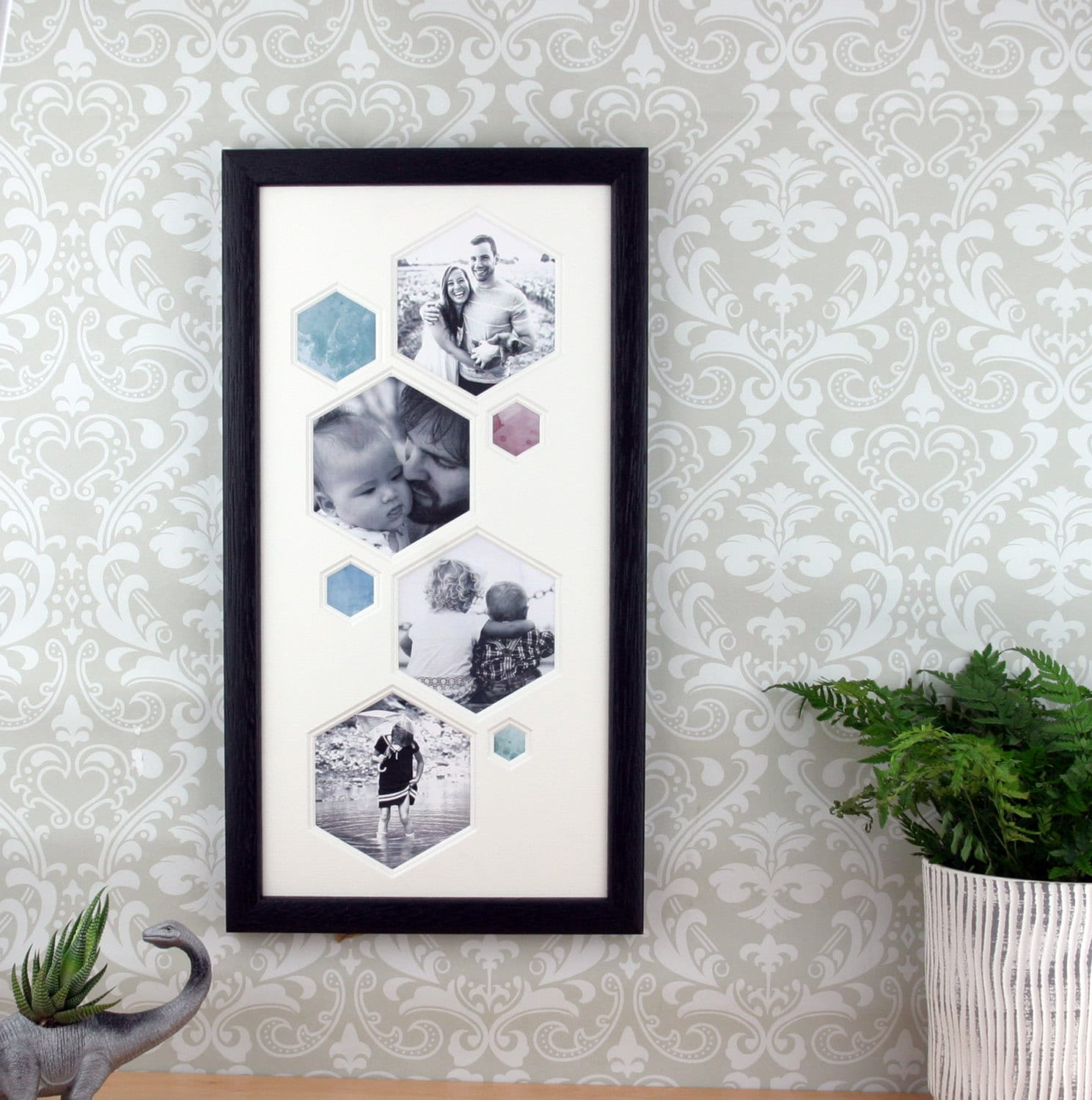 Image result for Hexagon picture frame, multi photo frame. Modern Minimalist Geometric Picture frame, living room decor.