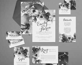 Printable Wedding Invitation Suite . Estelle Grey . Wedding Invitation, Printable Invite, DIY Wedding Invitation, wedding invite, paint