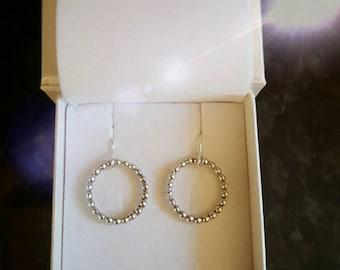 Hoop earrings, beaded Sterling Silver hoop earrings