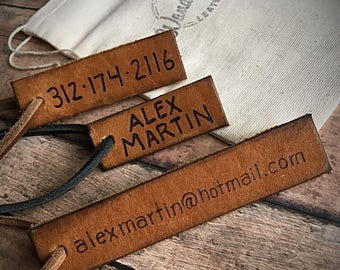 contact information tag, email address tag, Leather Luggage Tag, Personalized Luggage Tag, Leather luggage tags