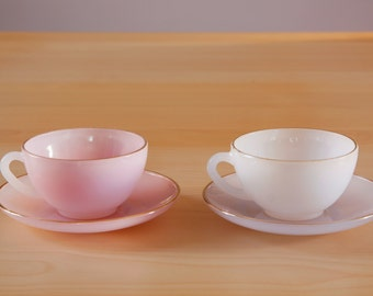Vintage French Arcopal opalescent cup and saucer set