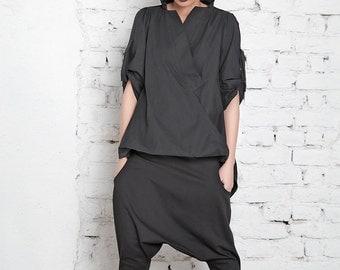 Black Shirt / Long Shirt / High Low Top / Maxi Shirt / Plus Size Blouse / Extravagant Top / Oversize Shirt / Short Sleeve Top / Black Blouse