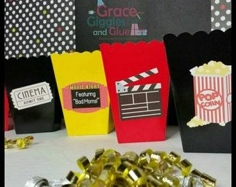 10 Movie Night Themed Snack/Favor Boxes, Movie Night Popcorn Box,