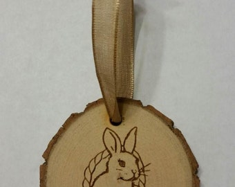 Rustic Wood Easter Bunny in Basket with eggs Ornament