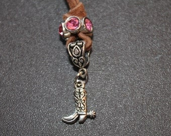Leather Charm Necklace-Boot