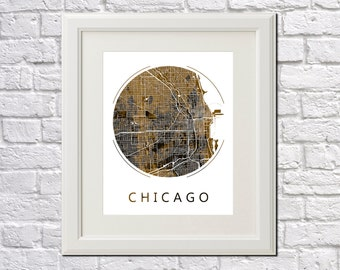 Chicago Street Map Print Neighborhood Map of Chicago City Street Map Chicago Poster Wall Art 7002R