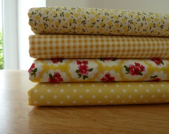 Lemon & Yellow Fabric Bundle. Four Fat Quarters. 100% Cotton Poplin. Craft, Quilting, Patchwork, Dressmaking
