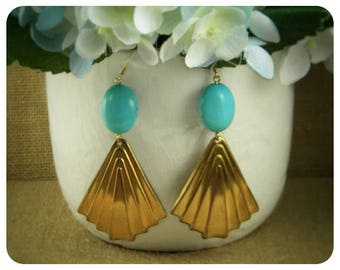 Turquoise, Brass Stamp Earrings