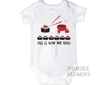 This Is How We Roll Sushi Onesie® Sushi Baby Shower Gift Baby Girl or Boy Clothes Funny Onesies Sushi Onesie Cute Baby Onesies Miso Cute