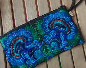 Pouch, rectangular pouch, small pouch, colored pouch, fabric pouch, embroidered pouch, wristlet, colors, ornaments, blue, green