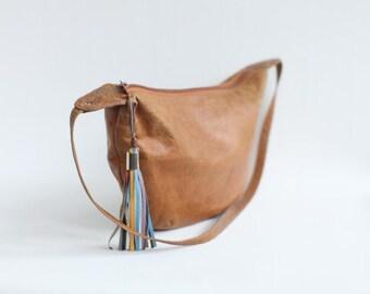 Vintage Women's Brown Leather Shoulder Bag Purse