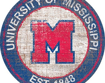 """University Of Mississippi NCAA Round Distressed Historic Established Wood Sign 24"""" In Diameter"""