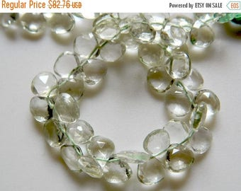 ON SALE 50% Green Amethyst Beads, Heart Shaped Faceted Briolettes, 10x10mm, 44 Pcs Approx, 8 Inch Strand
