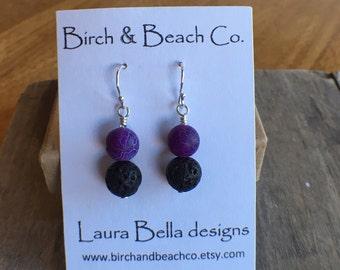 Lava & Purple Agate Earrings