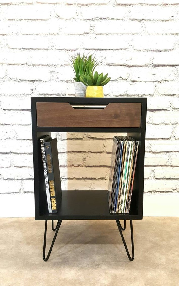 Record Console, Black End Table, Bedside Table,  Black Nightstand, Mid Century Modern, Hairpin Leg, With Drawer, Modern Colors