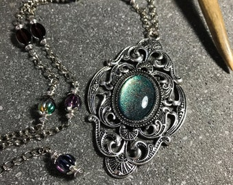 Necklace with pendant Victorian Gothic cabochon Galaxy